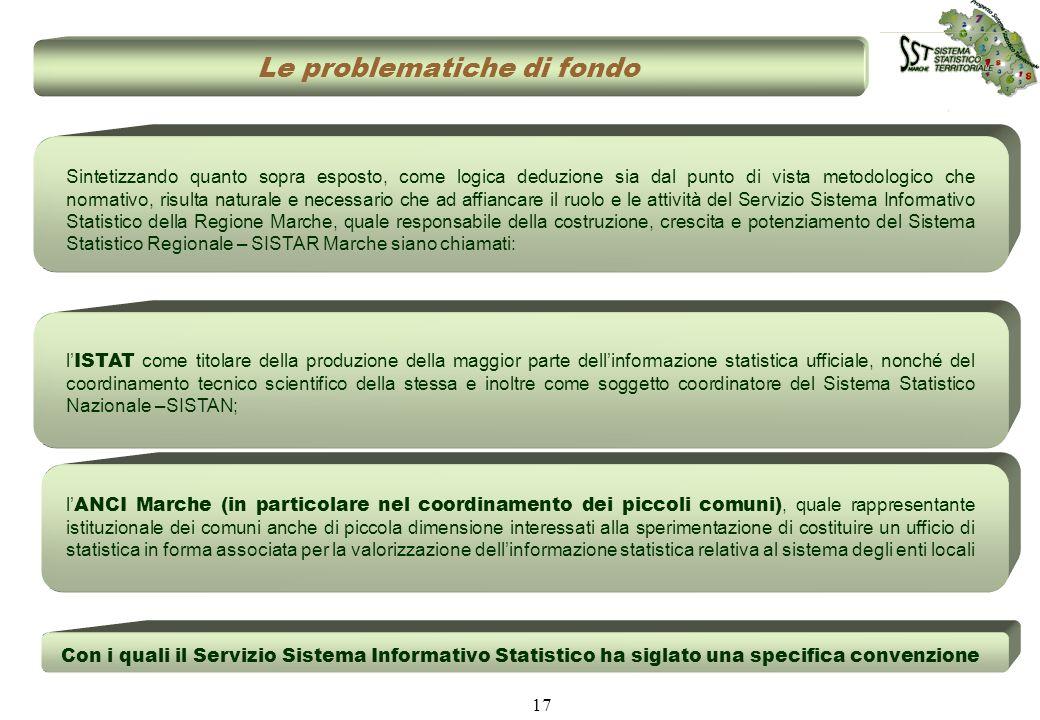 17 Le problematiche di fondo Con i quali il Servizio Sistema Informativo Statistico ha siglato una specifica convenzione Sintetizzando quanto sopra es