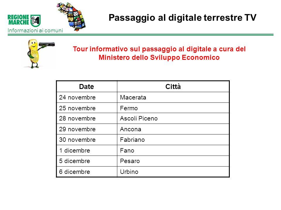 Passaggio al digitale terrestre TV Informazioni ai comuni Tour informativo sul passaggio al digitale a cura del Ministero dello Sviluppo Economico Dat