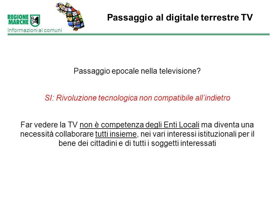 Passaggio al digitale terrestre TV Informazioni ai comuni Passaggio epocale nella televisione? SI: Rivoluzione tecnologica non compatibile allindietro