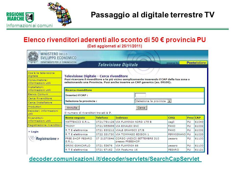 Passaggio al digitale terrestre TV Informazioni ai comuni Elenco rivenditori aderenti allo sconto di 50 provincia PU (Dati aggiornati al 25/11/2011) d