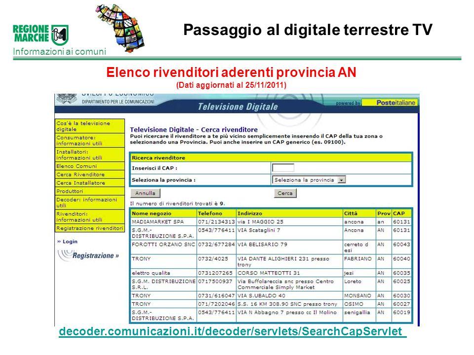 Passaggio al digitale terrestre TV Informazioni ai comuni Elenco rivenditori aderenti provincia AN (Dati aggiornati al 25/11/2011) decoder.comunicazio