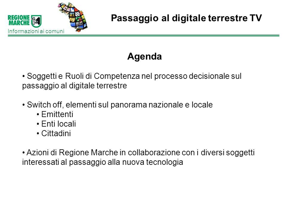 Passaggio al digitale terrestre TV Informazioni ai comuni Agenda Soggetti e Ruoli di Competenza nel processo decisionale sul passaggio al digitale ter