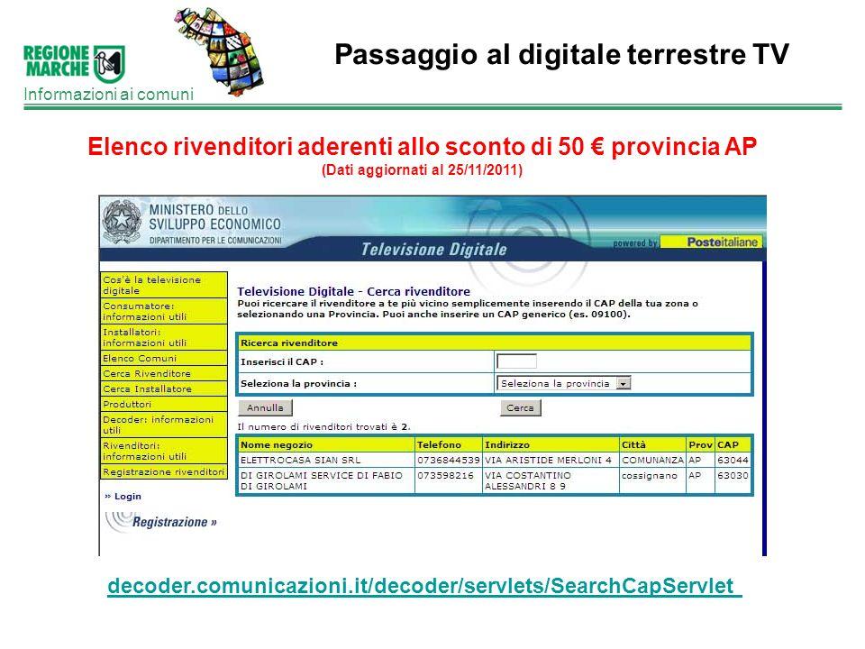 Passaggio al digitale terrestre TV Informazioni ai comuni Elenco rivenditori aderenti allo sconto di 50 provincia AP (Dati aggiornati al 25/11/2011) d