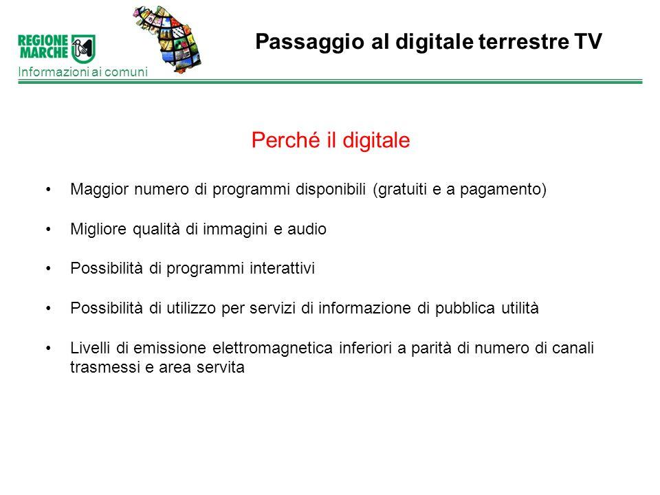 Passaggio al digitale terrestre TV Informazioni ai comuni Perché il digitale Maggior numero di programmi disponibili (gratuiti e a pagamento) Migliore