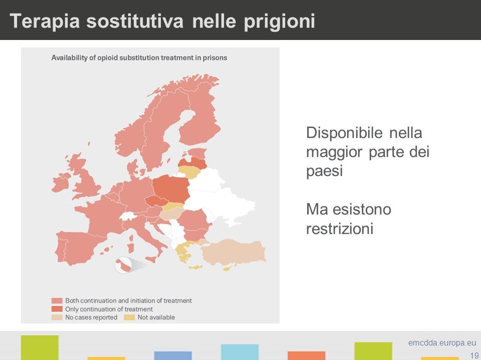 19 emcdda.europa.eu Terapia sostitutiva nelle prigioni Disponibile nella maggior parte dei paesi Ma esistono restrizioni