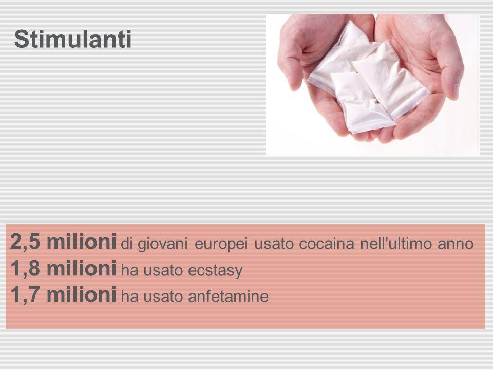 Stimulanti 2,5 milioni di giovani europei usato cocaina nell'ultimo anno 1,8 milioni ha usato ecstasy 1,7 milioni ha usato anfetamine