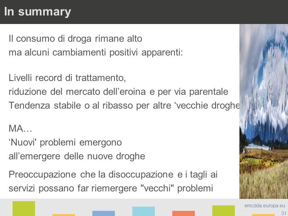 31 emcdda.europa.eu In summary Il consumo di droga rimane alto ma alcuni cambiamenti positivi apparenti: Livelli record di trattamento, riduzione del