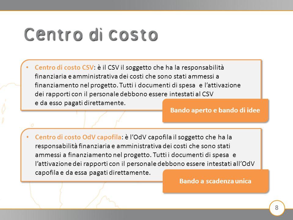 Centro di costo CSV: è il CSV il soggetto che ha la responsabilità finanziaria e amministrativa dei costi che sono stati ammessi a finanziamento nel progetto.