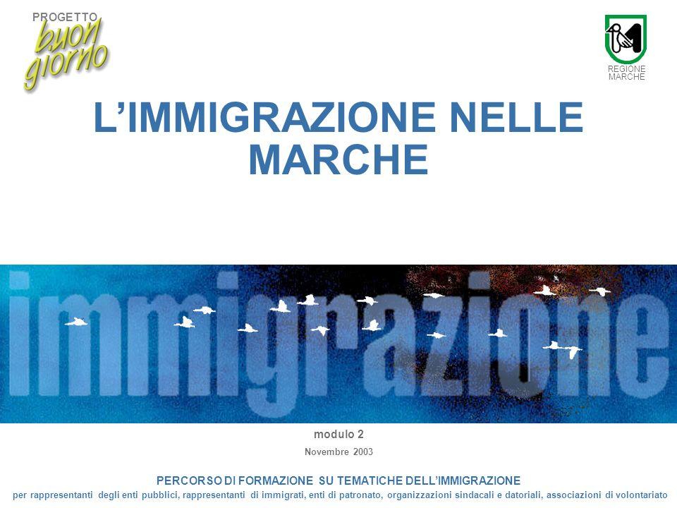PROGETTO 1 LIMMIGRAZIONE NELLE MARCHE 1 LIMMIGRAZIONE NELLE MARCHE modulo 2 Novembre 2003 PERCORSO DI FORMAZIONE SU TEMATICHE DELLIMMIGRAZIONE per rappresentanti degli enti pubblici, rappresentanti di immigrati, enti di patronato, organizzazioni sindacali e datoriali, associazioni di volontariato REGIONE MARCHE PROGETTO