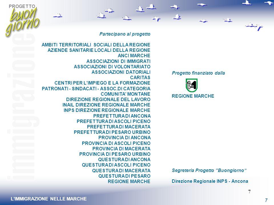 PROGETTO 7 LIMMIGRAZIONE NELLE MARCHE 7 Partecipano al progetto AMBITI TERRITORIALI SOCIALI DELLA REGIONE AZIENDE SANITARIE LOCALI DELLA REGIONE ANCI MARCHE ASSOCIAZIONI DI IMMIGRATI ASSOCIAZIONI DI VOLONTARIATO ASSOCIAZIONI DATORIALI CARITAS CENTRI PER L IMPIEGO E LA FORMAZIONE PATRONATI - SINDACATI - ASSOC.DI CATEGORIA COMUNITA MONTANE DIREZIONE REGIONALE DEL LAVORO INAIL DIREZIONE REGIONALE MARCHE INPS DIREZIONE REGIONALE MARCHE PREFETTURA DI ANCONA PREFETTURA DI ASCOLI PICENO PREFETTURA DI MACERATA PREFETTURA DI PESARO URBINO PROVINCIA DI ANCONA PROVINCIA DI ASCOLI PICENO PROVINCIA DI MACERATA PROVINCIA DI PESARO URBINO QUESTURA DI ANCONA QUESTURA DI ASCOLI PICENO QUESTURA DI MACERATA QUESTURA DI PESARO REGIONE MARCHE Segreteria Progetto Buongiorno Direzione Regionale INPS - Ancona Progetto finanziato dalla REGIONE MARCHE