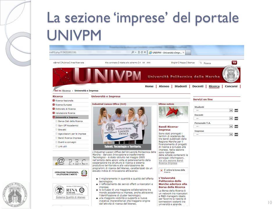 La sezione imprese del portale UNIVPM 10