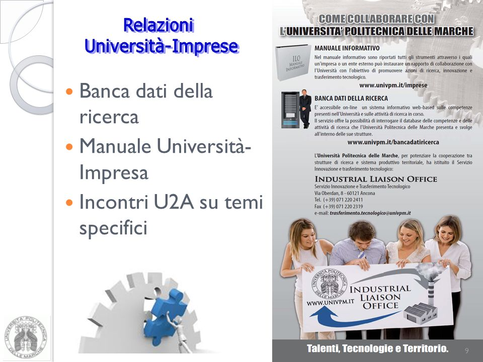 Banca dati della ricerca Manuale Università- Impresa Incontri U2A su temi specifici 9