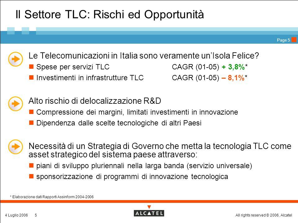 All rights reserved © 2006, Alcatel4 Luglio 20065 Page 5 Il Settore TLC: Rischi ed Opportunità Le Telecomunicazioni in Italia sono veramente unIsola Felice.