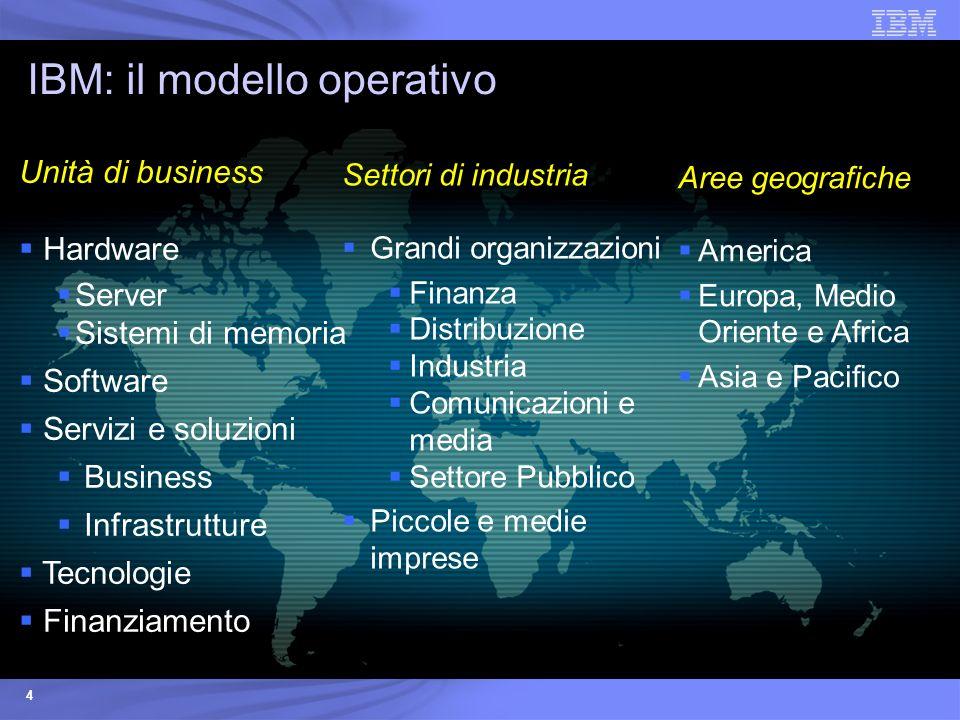 4 Settori di industria Grandi organizzazioni Finanza Distribuzione Industria Comunicazioni e media Settore Pubblico Piccole e medie imprese IBM: il mo