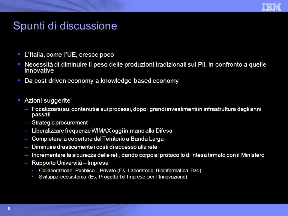 8 Spunti di discussione LItalia, come lUE, cresce poco Necessità di diminuire il peso delle produzioni tradizionali sul Pil, in confronto a quelle inn