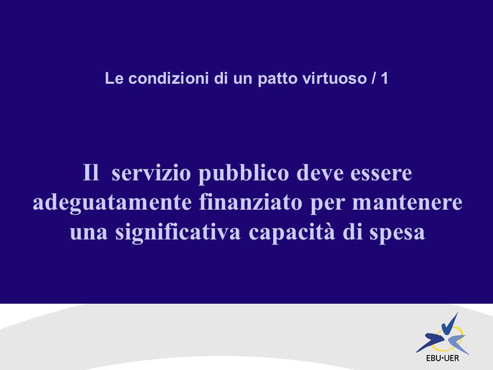 Le condizioni di un patto virtuoso / 1 Il servizio pubblico deve essere adeguatamente finanziato per mantenere una significativa capacità di spesa