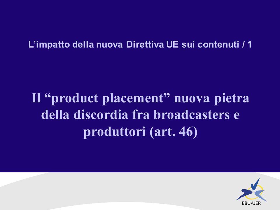 Limpatto della nuova Direttiva UE sui contenuti / 1 Il product placement nuova pietra della discordia fra broadcasters e produttori (art.