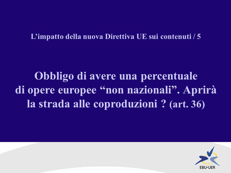 Limpatto della nuova Direttiva UE sui contenuti / 5 Obbligo di avere una percentuale di opere europee non nazionali.