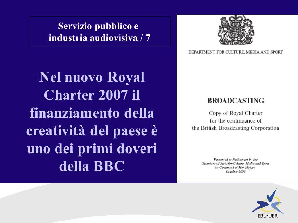 Nel nuovo Royal Charter 2007 il finanziamento della creatività del paese è uno dei primi doveri della BBC Servizio pubblico e industria audiovisiva / 7
