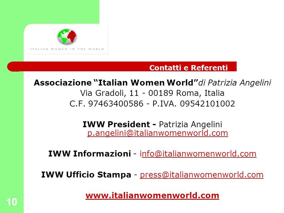 10 Associazione Italian Women Worlddi Patrizia Angelini Via Gradoli, 11 - 00189 Roma, Italia C.F. 97463400586 - P.IVA. 09542101002 IWW President - Pat