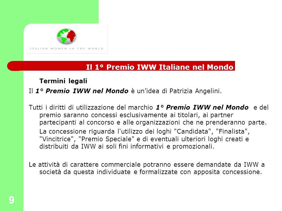9 Termini legali Il 1° Premio IWW nel Mondo è unidea di Patrizia Angelini. Tutti i diritti di utilizzazione del marchio 1° Premio IWW nel Mondo e del