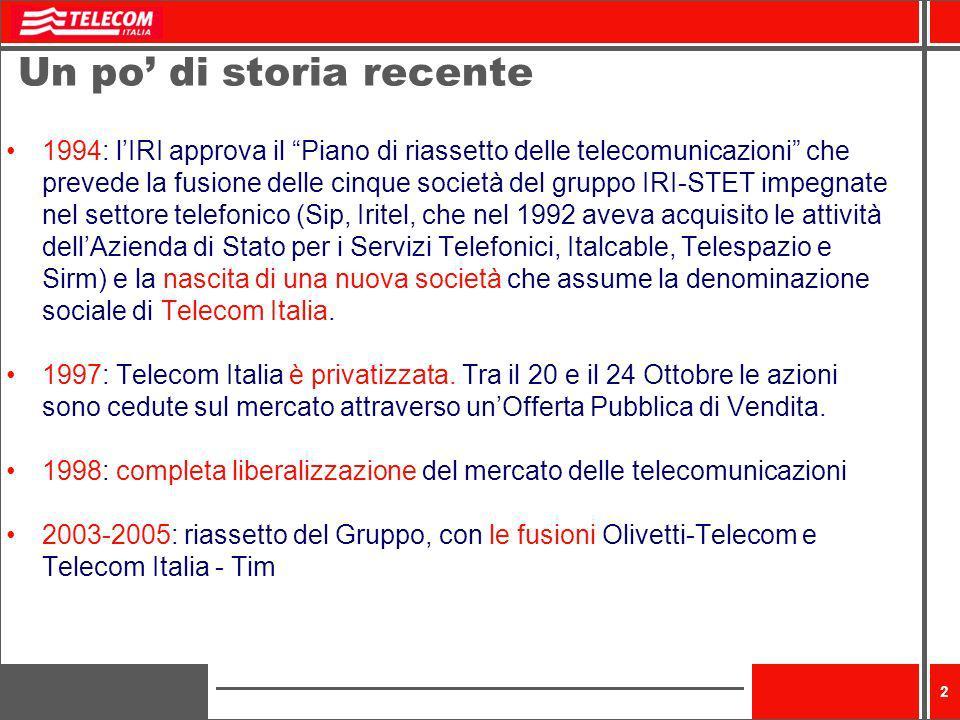 2 Un po di storia recente 1994: lIRI approva il Piano di riassetto delle telecomunicazioni che prevede la fusione delle cinque società del gruppo IRI-