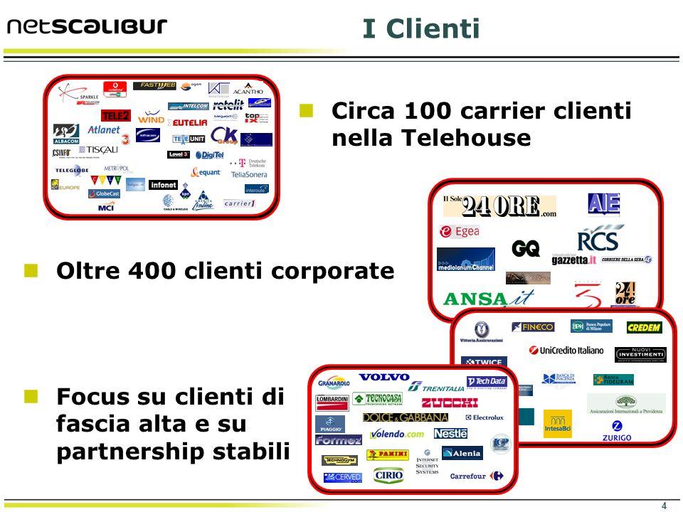 4 I Clienti Circa 100 carrier clienti nella Telehouse FINANCE Oltre 400 clienti corporate Focus su clienti di fascia alta e su partnership stabili
