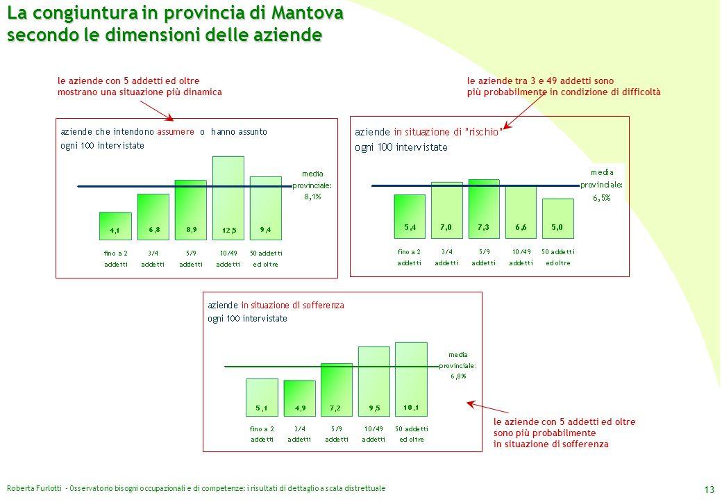 Roberta Furlotti - Osservatorio bisogni occupazionali e di competenze: i risultati di dettaglio a scala distrettuale 13 La congiuntura in provincia di