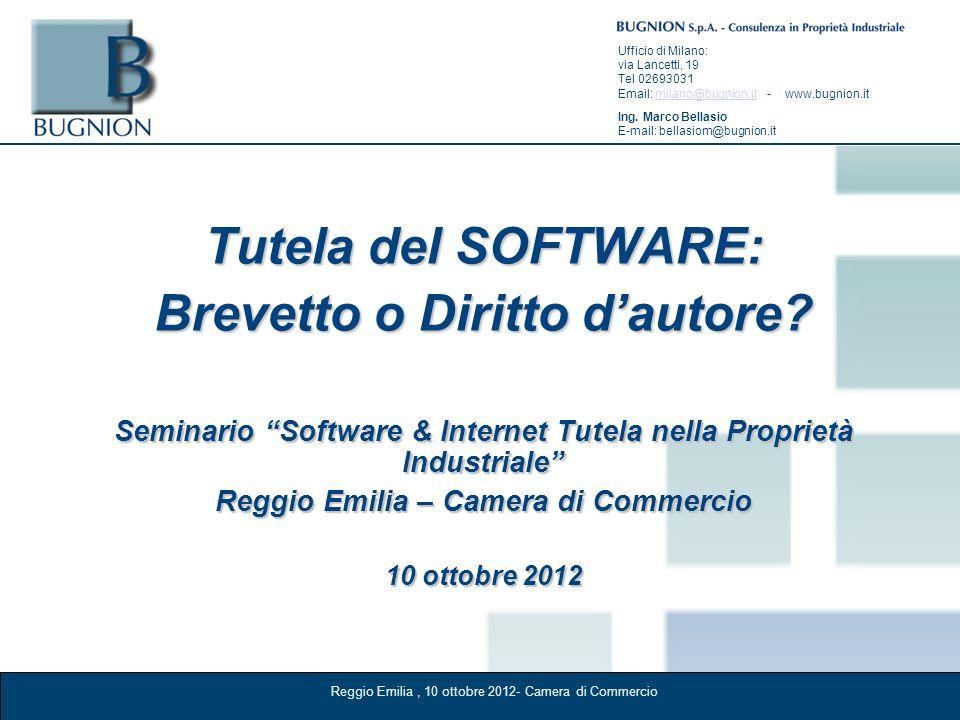 Reggio Emilia, 10 ottobre 2012- Camera di Commercio Ufficio di Milano: via Lancetti, 19 Tel 02693031 Email: milano@bugnion.it - www.bugnion.itmilano@b