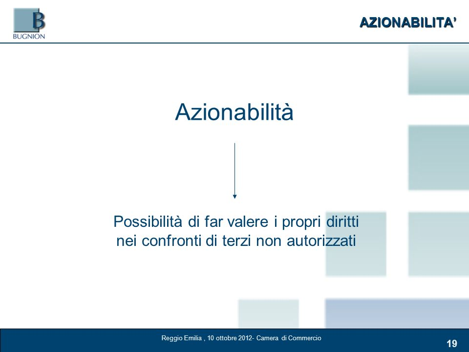 AZIONABILITA 19 Azionabilità Possibilità di far valere i propri diritti nei confronti di terzi non autorizzati Reggio Emilia, 10 ottobre 2012- Camera