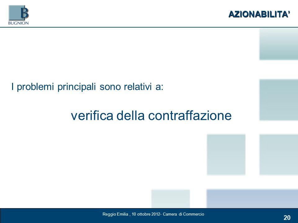 AZIONABILITA 20 I problemi principali sono relativi a: verifica della contraffazione Reggio Emilia, 10 ottobre 2012- Camera di Commercio