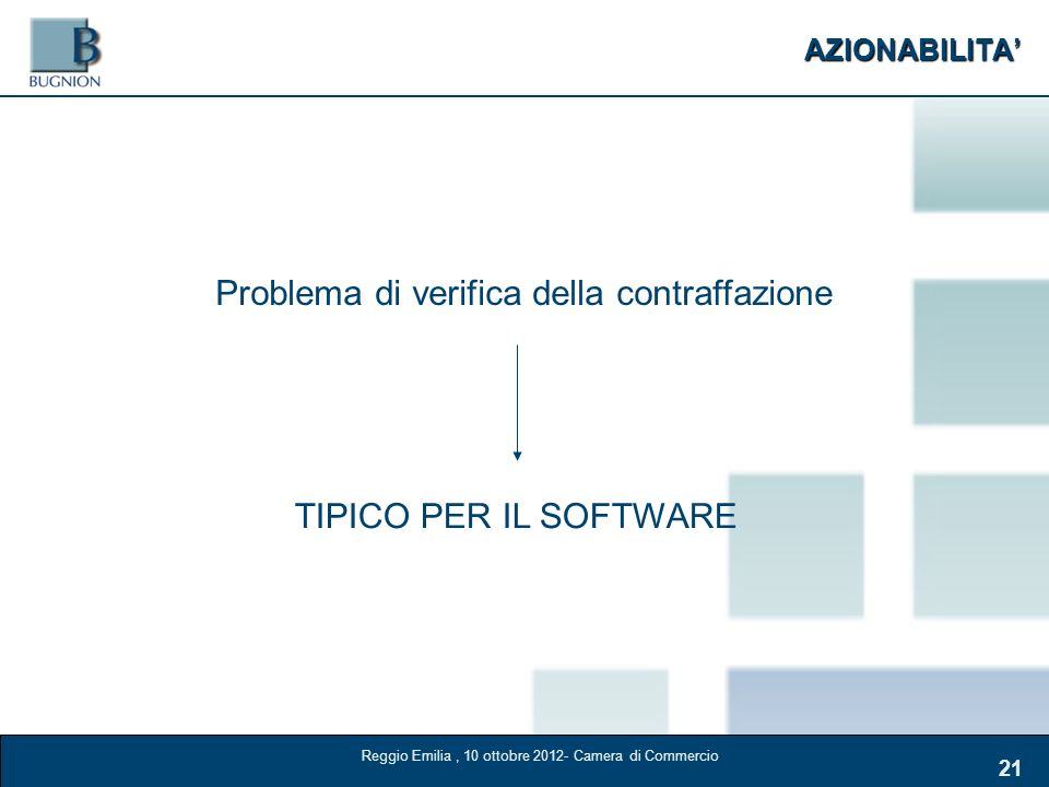 AZIONABILITA 21 Problema di verifica della contraffazione TIPICO PER IL SOFTWARE Reggio Emilia, 10 ottobre 2012- Camera di Commercio