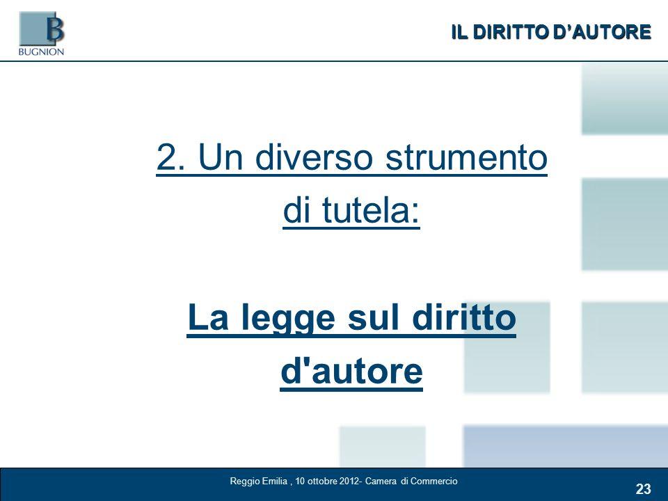 IL DIRITTO DAUTORE 23 2. Un diverso strumento di tutela: La legge sul diritto d'autore Reggio Emilia, 10 ottobre 2012- Camera di Commercio