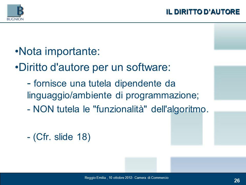 IL DIRITTO DAUTORE 26 Nota importante: Diritto d'autore per un software: - fornisce una tutela dipendente da linguaggio/ambiente di programmazione; -