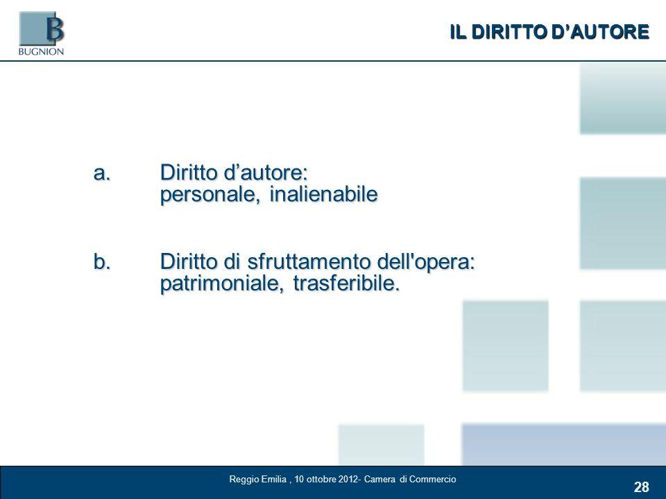 IL DIRITTO DAUTORE 28 a.Diritto dautore: personale, inalienabile b.Diritto di sfruttamento dell'opera: patrimoniale, trasferibile. Reggio Emilia, 10 o