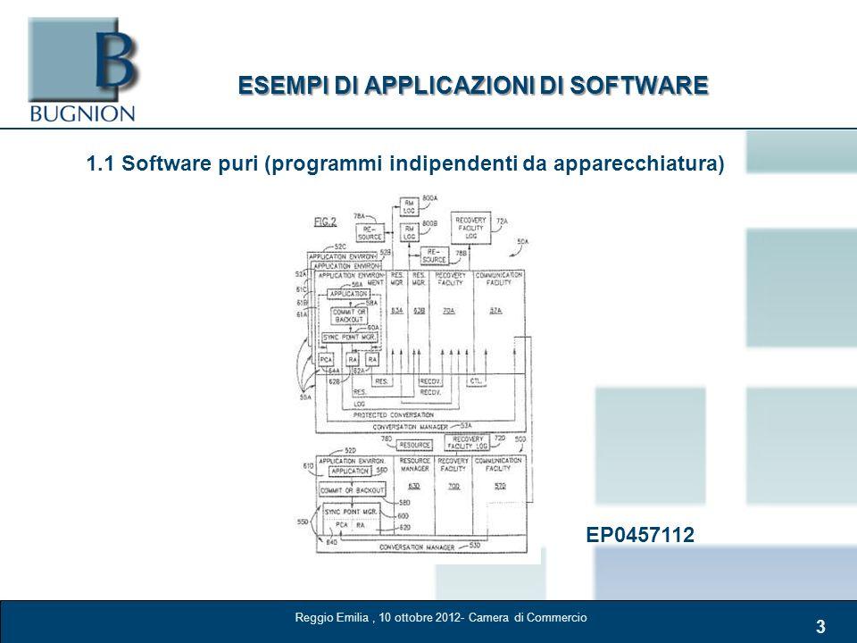 3 ESEMPI DI APPLICAZIONI DI SOFTWARE 1.1 Software puri (programmi indipendenti da apparecchiatura) EP0457112 Reggio Emilia, 10 ottobre 2012- Camera di