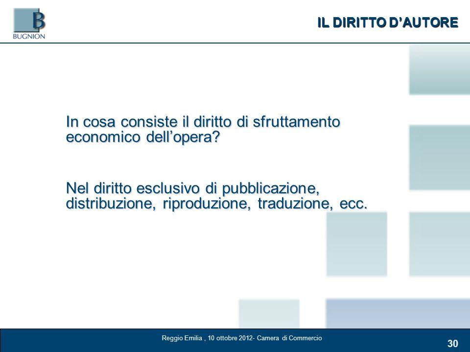 IL DIRITTO DAUTORE 30 In cosa consiste il diritto di sfruttamento economico dellopera? Nel diritto esclusivo di pubblicazione, distribuzione, riproduz