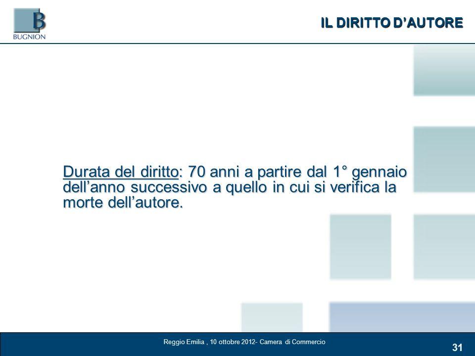 IL DIRITTO DAUTORE 31 Durata del diritto: 70 anni a partire dal 1° gennaio dellanno successivo a quello in cui si verifica la morte dellautore. Reggio