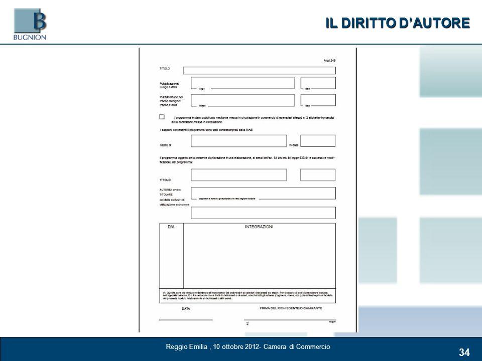 IL DIRITTO DAUTORE 34 Reggio Emilia, 10 ottobre 2012- Camera di Commercio