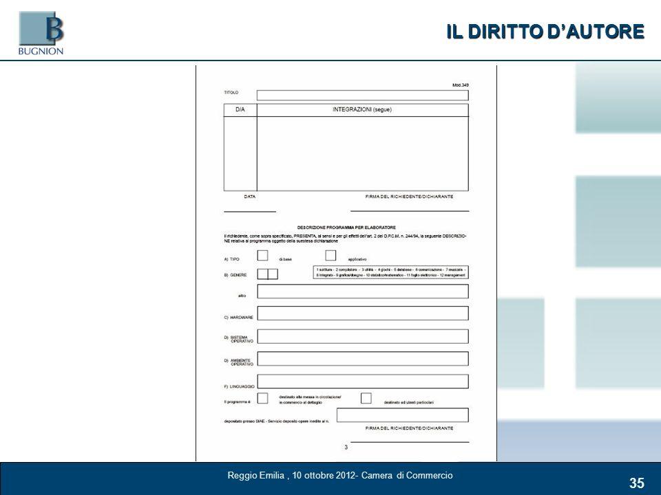 IL DIRITTO DAUTORE 35 Reggio Emilia, 10 ottobre 2012- Camera di Commercio