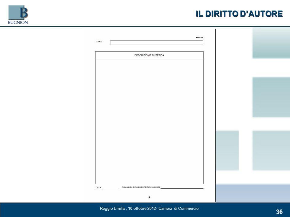 IL DIRITTO DAUTORE 36 Reggio Emilia, 10 ottobre 2012- Camera di Commercio