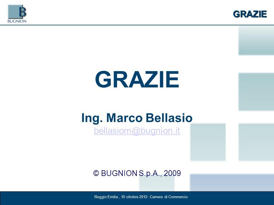 GRAZIE GRAZIE © BUGNION S.p.A., 2009 Ing. Marco Bellasio bellasiom@bugnion.it Reggio Emilia, 10 ottobre 2012- Camera di Commercio