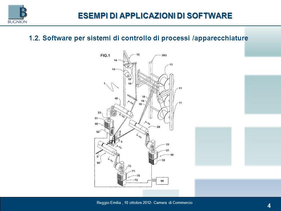 4 ESEMPI DI APPLICAZIONI DI SOFTWARE 1.2. Software per sistemi di controllo di processi /apparecchiature Reggio Emilia, 10 ottobre 2012- Camera di Com