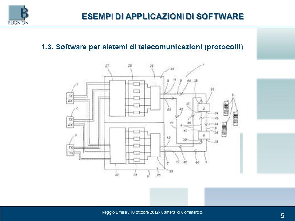 5 ESEMPI DI APPLICAZIONI DI SOFTWARE 1.3. Software per sistemi di telecomunicazioni (protocolli) Reggio Emilia, 10 ottobre 2012- Camera di Commercio
