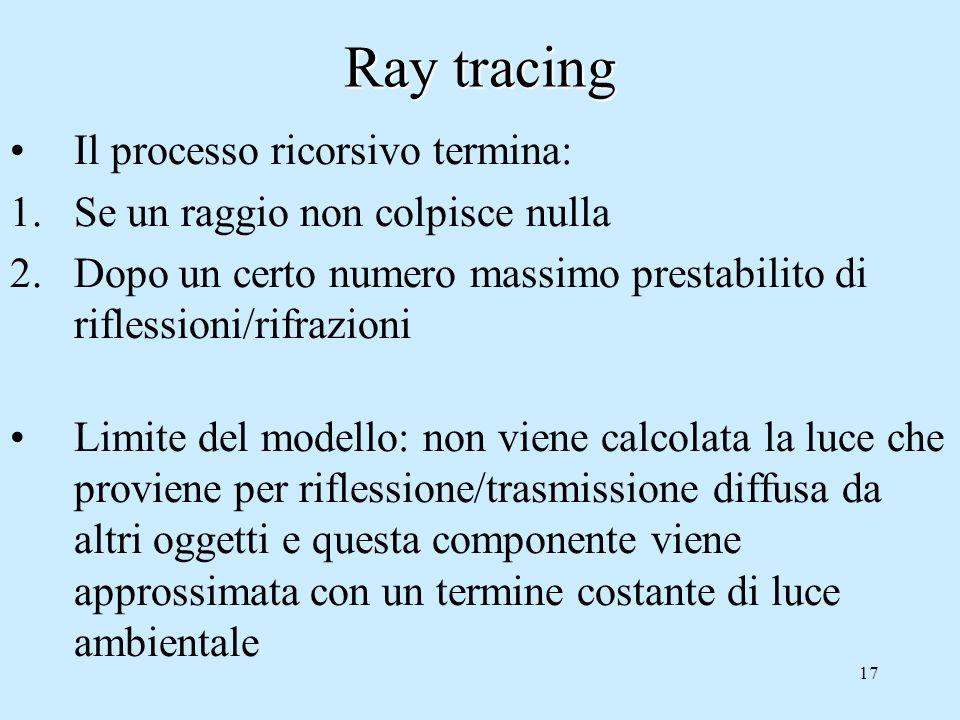 16 Ray tracing Quando un raggio incontra un oggetto si applica il modello di illuminazione locale e il raggio viene propagato ricorsivamente in: 1.Un