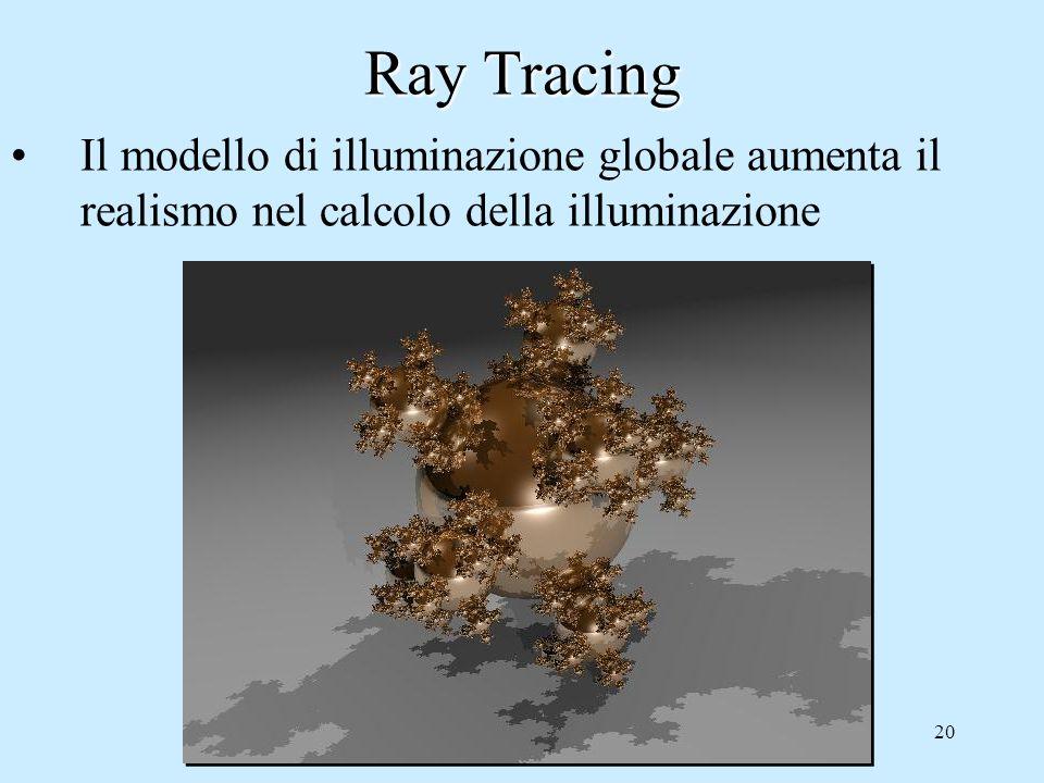 19 Ray Tracing Il modello di illuminazione globale aumenta il realismo nel calcolo della illuminazione solo Phong Phong + Ray tracing