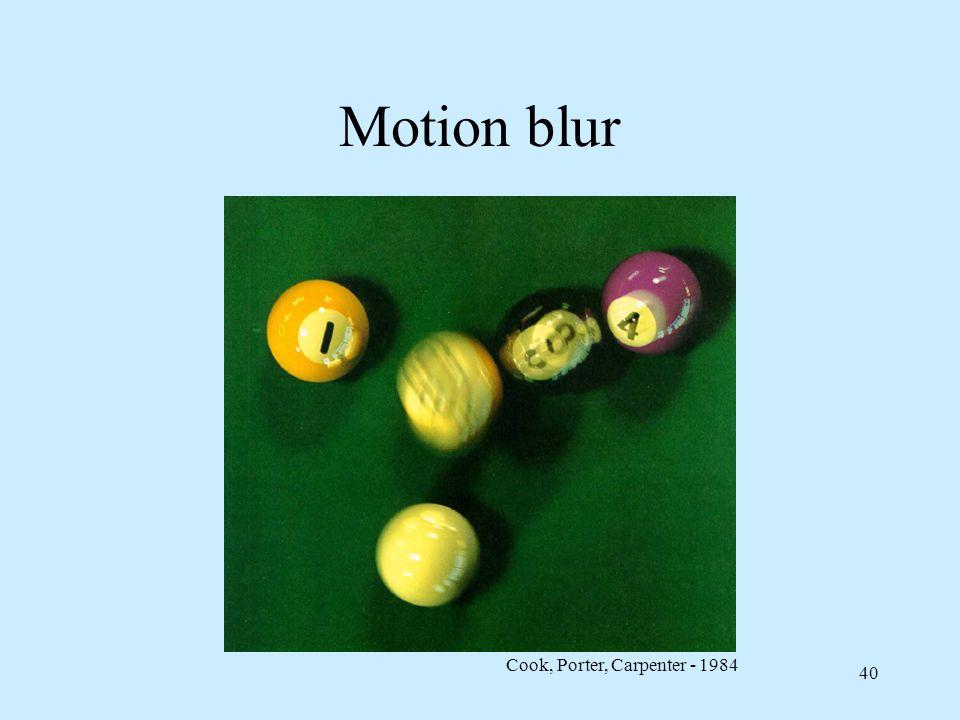 39 Jittering per motion blur Si può sovracampionare limmagine temporalmente, usando matrice di jitter a istanti di tempo distinti La maggiore velocità
