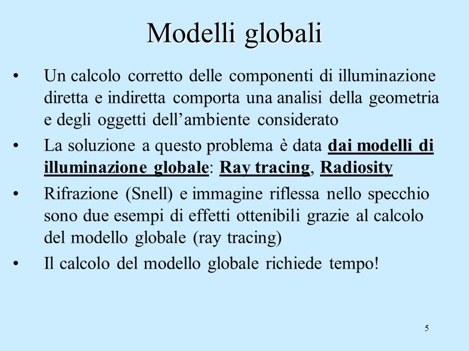 5 Modelli globali Un calcolo corretto delle componenti di illuminazione diretta e indiretta comporta una analisi della geometria e degli oggetti dellambiente considerato La soluzione a questo problema è data dai modelli di illuminazione globale: Ray tracing, Radiosity Rifrazione (Snell) e immagine riflessa nello specchio sono due esempi di effetti ottenibili grazie al calcolo del modello globale (ray tracing) Il calcolo del modello globale richiede tempo!