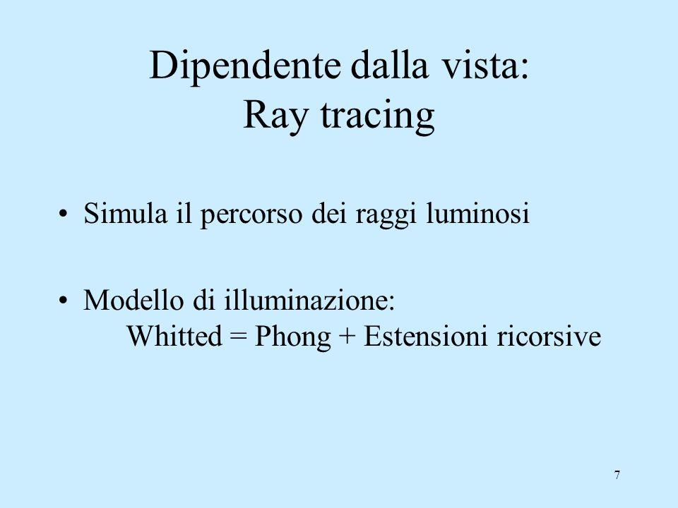 17 Ray tracing Il processo ricorsivo termina: 1.Se un raggio non colpisce nulla 2.Dopo un certo numero massimo prestabilito di riflessioni/rifrazioni Limite del modello: non viene calcolata la luce che proviene per riflessione/trasmissione diffusa da altri oggetti e questa componente viene approssimata con un termine costante di luce ambientale