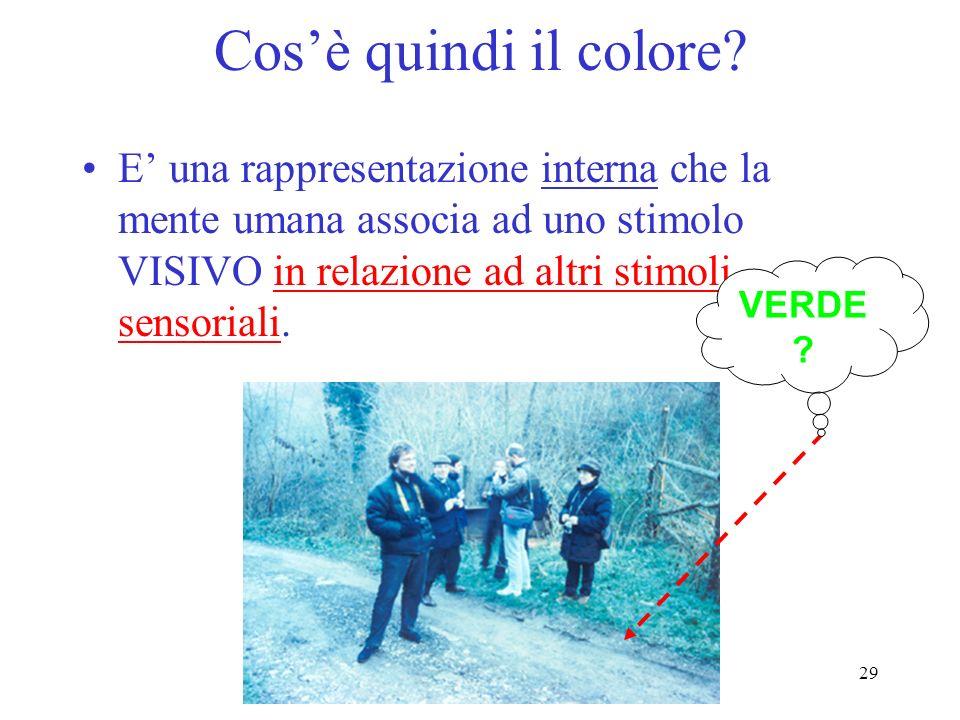 29 Cosè quindi il colore? E una rappresentazione interna che la mente umana associa ad uno stimolo VISIVO in relazione ad altri stimoli sensoriali. VE